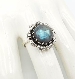 Tiger Mountain Faceted Checkerboard Cut Labradorite Flower Ring, Sterling Silver
