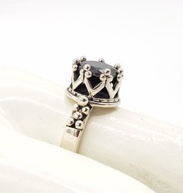 Tiger Mountain Black Onyx Ring  in Sterling Silver Crown Setting