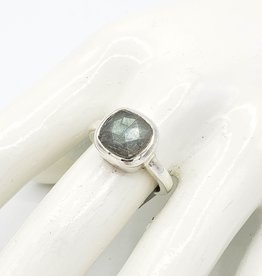 Tiger Mountain Square Rose Cut Labradorite Ring, Sterling Silver