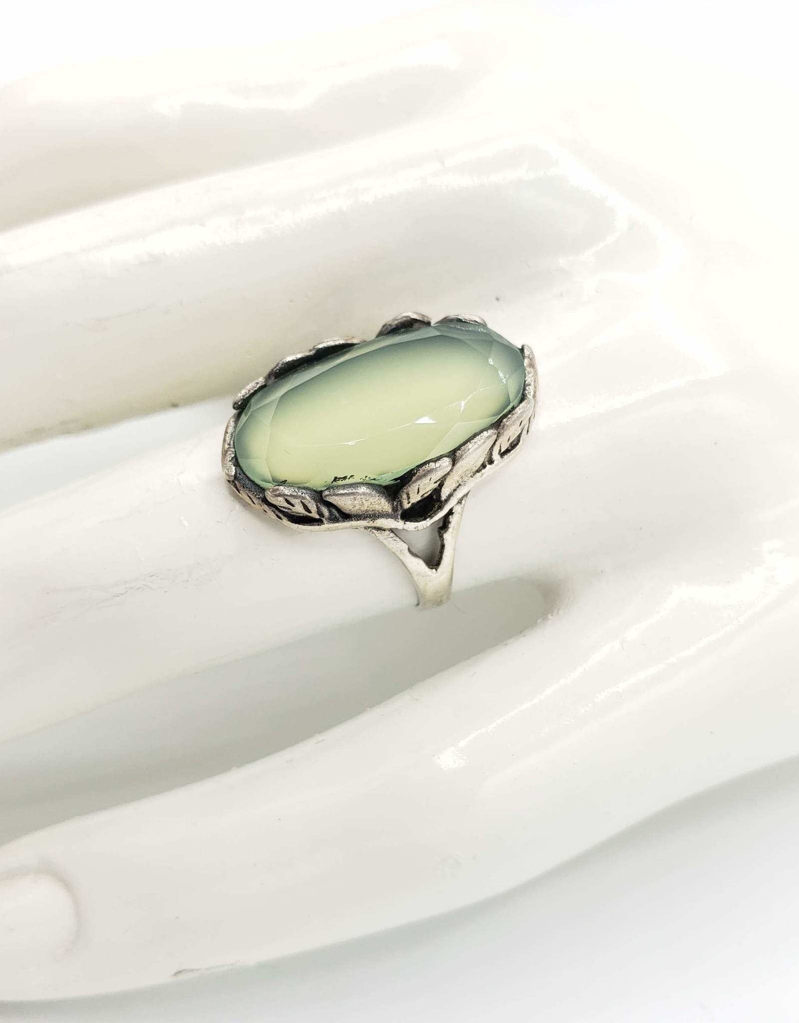 Tiger Mountain Faceted Prehnite Oval in Leaf Setting Sterling Silver Ring