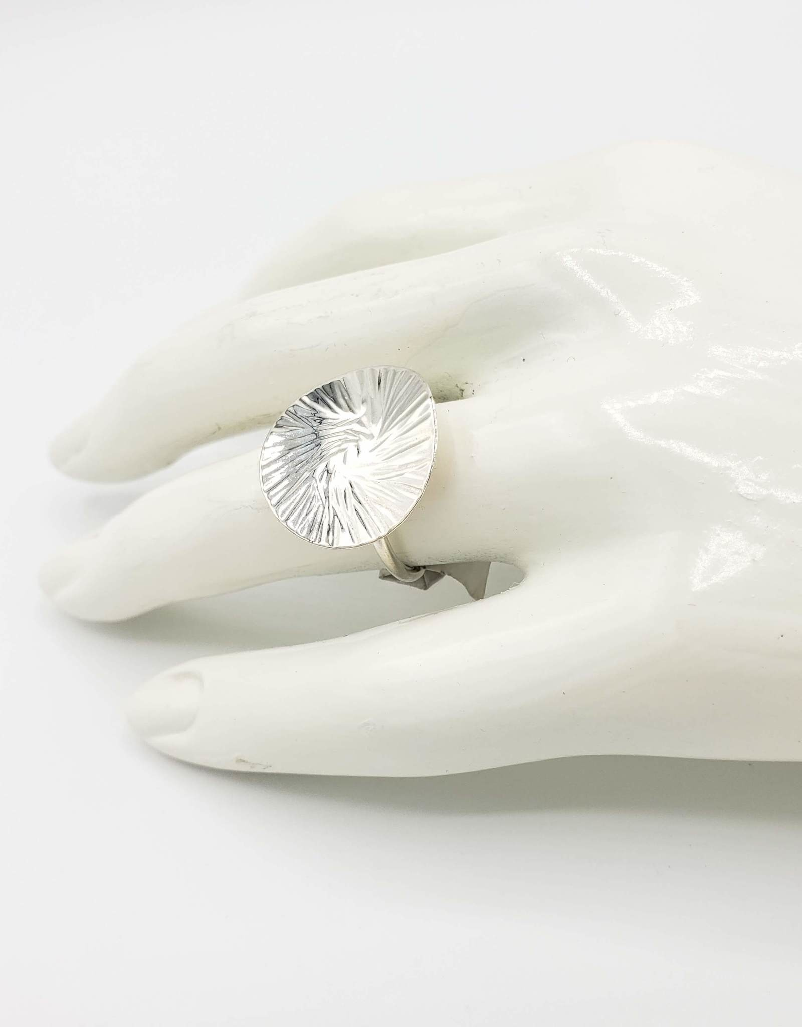 Peter James Jewelry Hammered Concave Disk Ring, Sterling Silver