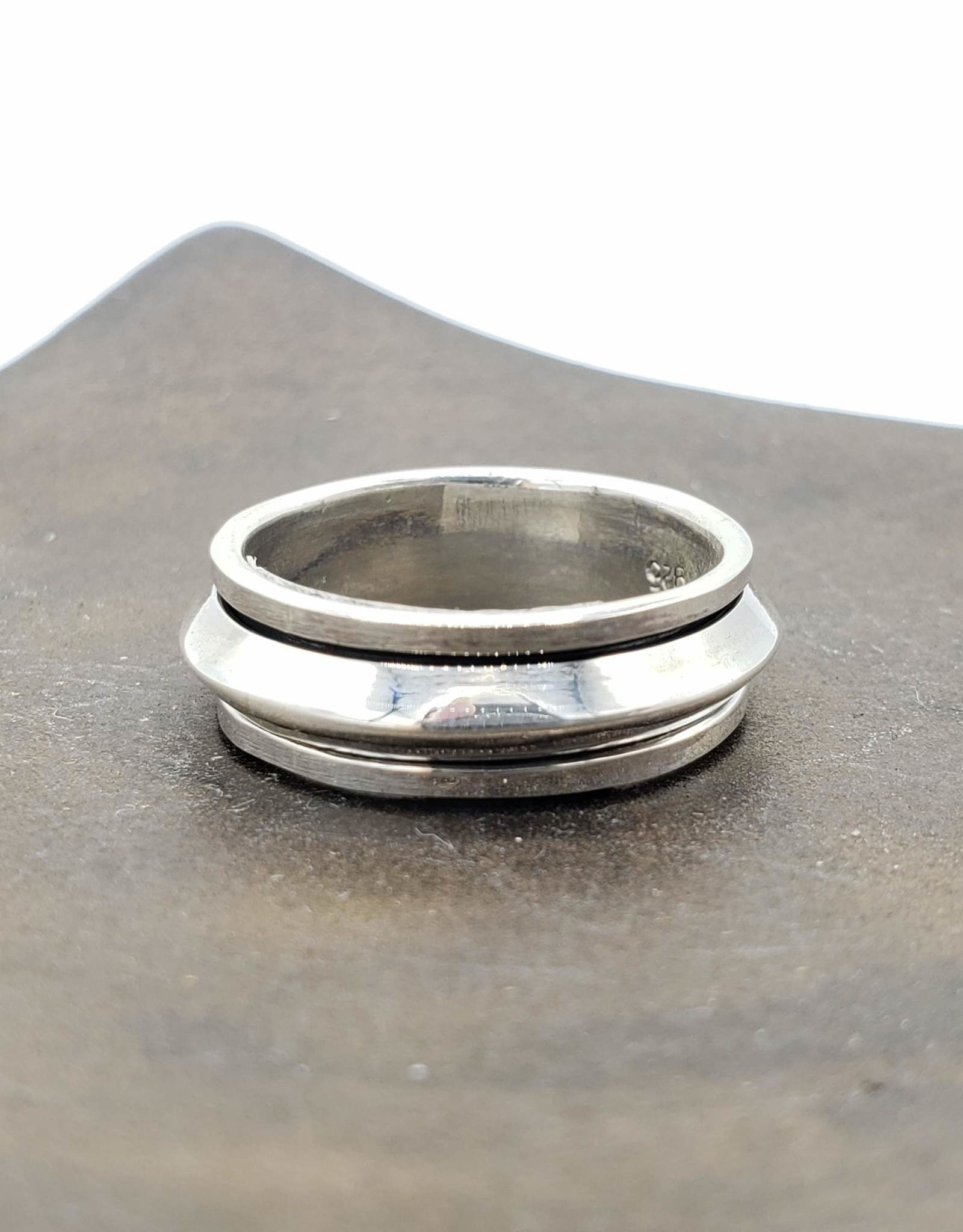 Tiger Mountain Spinner Ring Triangular Edged Band, Sterling Silver