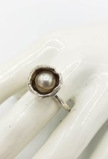 Water Cast Pearl Ring, Sterling Silver
