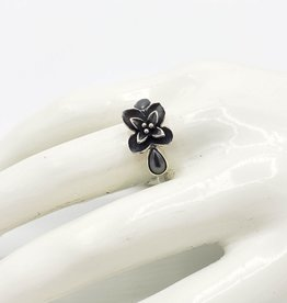 Tiger Mountain Hematite Teardrops with Oxidized Flower Ring, Sterling Silver