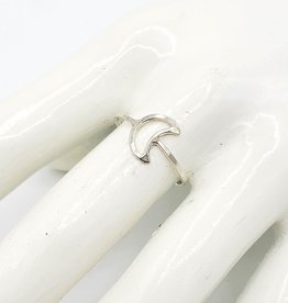 Hammered Crescent Moon Ring, Sterling Silver