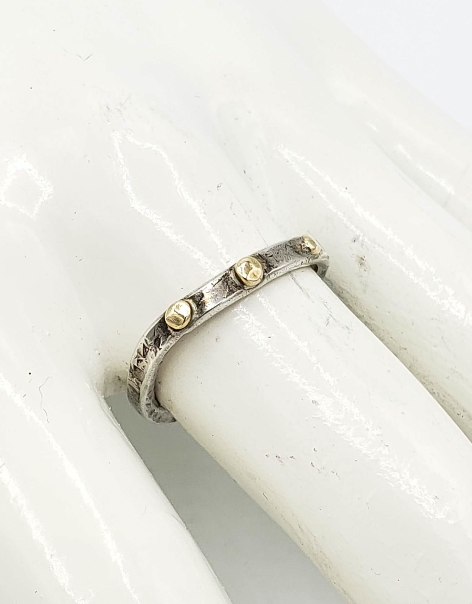 From the Reliquary Orion Ring, Sterling Silver Band w/brass dots