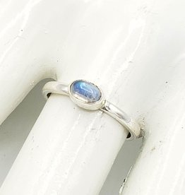Tiger Mountain Moonstone Oval Stacking Ring, Sterling Silver