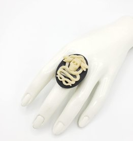 Skulls & Snakes Cameo Vintage Filigree Ring, Adjustable