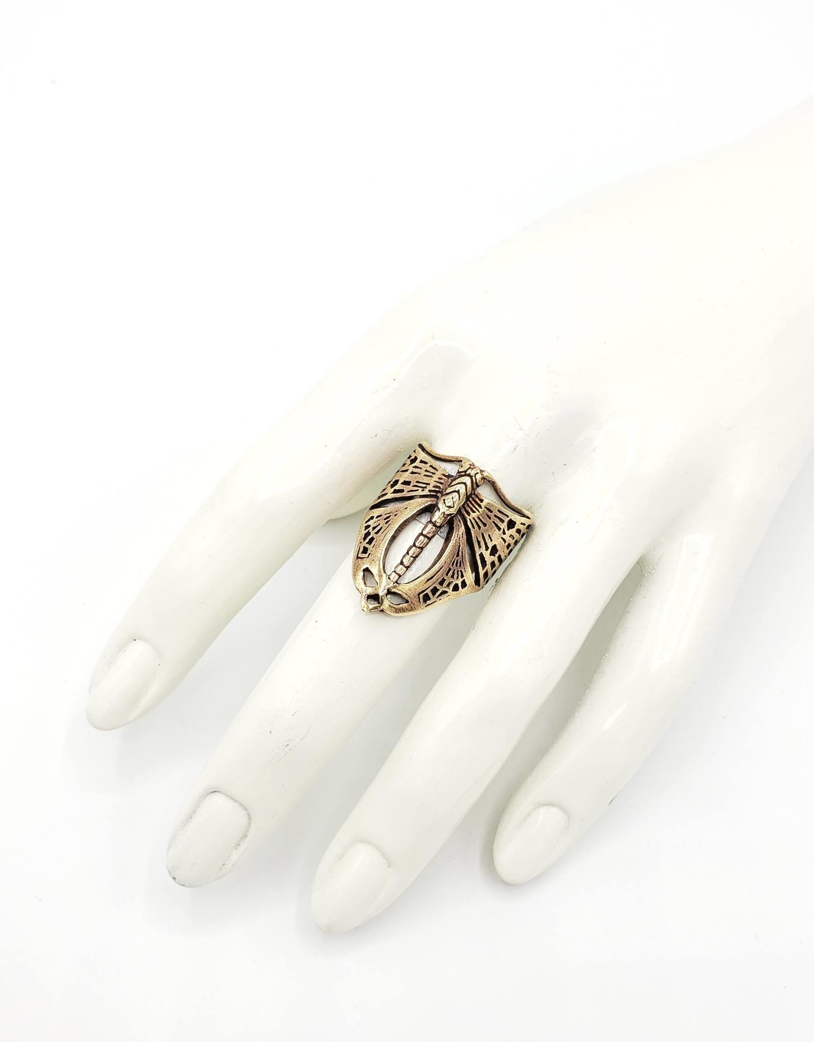 Tiger Mountain Dragonfly Insect Wrap Ring, Brass