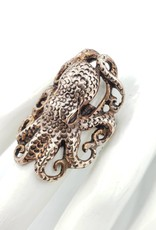Tiger Mountain Giant Octopus Ring , Brass Size 9