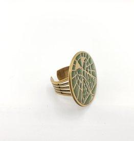 Ornamental Things Mystic Owl Ring, Brass & Enamel
