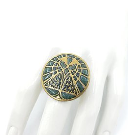 Ornamental Things Mystic Owl Ring, Brass & Enamel