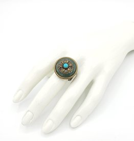 Flower Power Ring w/ Green Aventurine/Turquoise