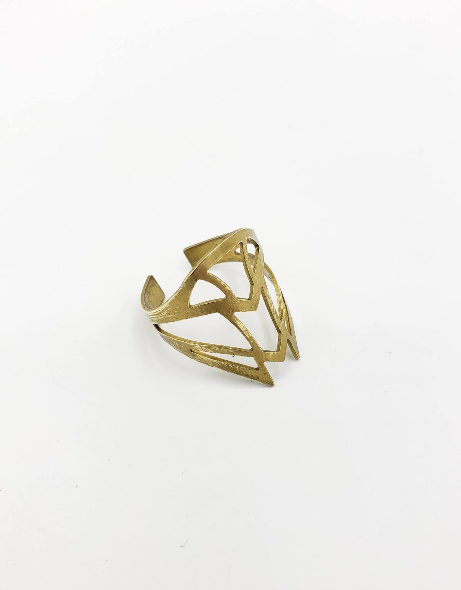 Mishakaudi Ornate Cutout Shield Ring, Brass (adjustable)