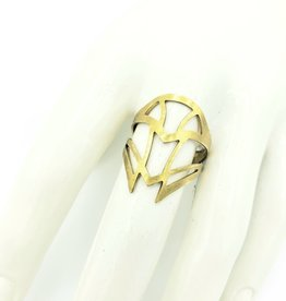 Mishakaudi Ornate Cutout Shield Ring, Brass (adjustable)
