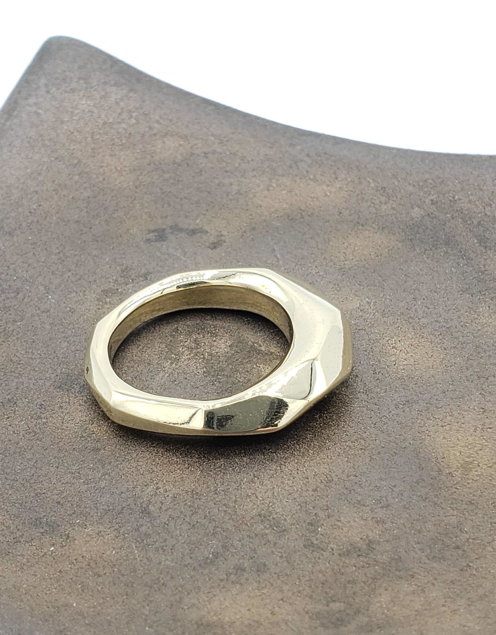 Redux Faceted Ring Heavy, Sz 6 1/2 High Polished Brass
