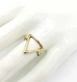 Boho Gal Jewelry Open Triangle Adjustable Ring, Brass