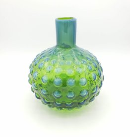 Opalescent Hobnail Glass Vase in Blue & Green