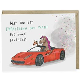"Emily McDowell ""Pony Ferrari Pizza"" Birthday Greeting Card - Emily McDowell"