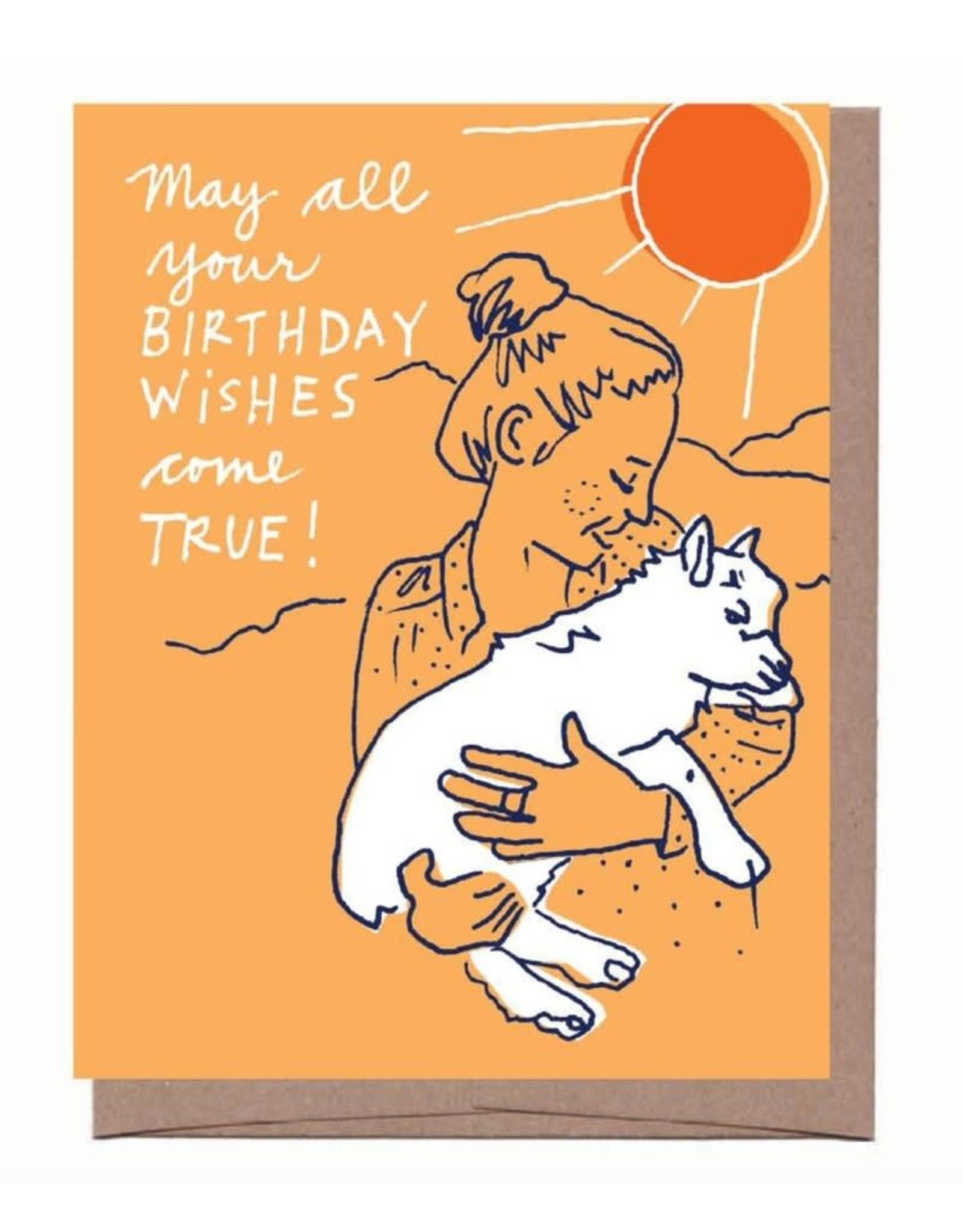 """Girl and Goat"" Birthday Greeting Card - La Familia Green"
