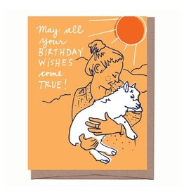 """Girl and Goat"" Birthday Greeting Card - La Familia Green"
