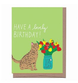 """Flower Cat"" Scratch & Sniff Greeting Card - La Familia Green"