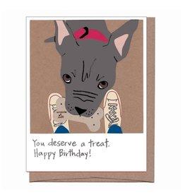 """Peanut Butter Dog Treat"" Scratch & Sniff Greeting Card - La Familia Green"