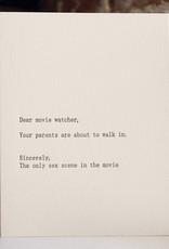 """Dear Movie Watcher'' Greeting Card - Sapling Press"