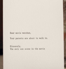 """Dear Movie Watcher'' Greeting Card - Sapling Press"