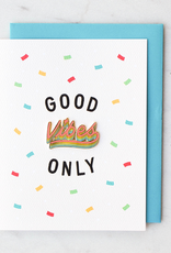 """Valley Cruise Press """"Good Vibes Only"""" Greeting Card + Enamel Pin - Valley Cruise Press"""