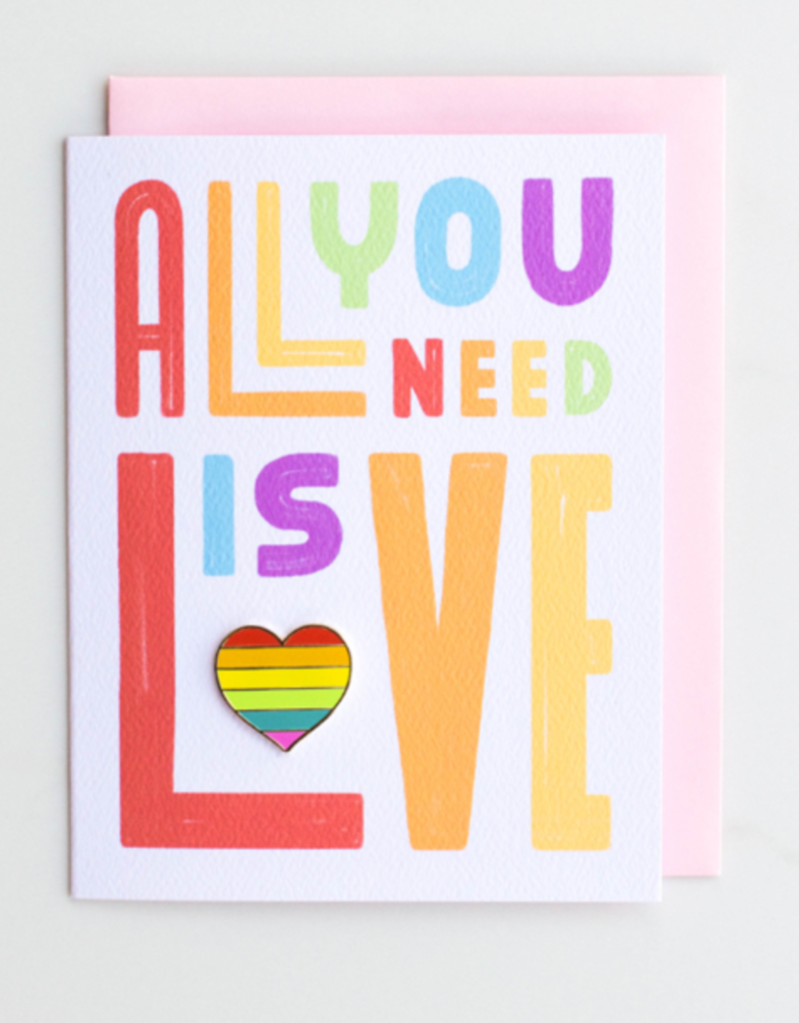 """Valley Cruise Press """"All You Need Is Love"""" Greeting Card + Enamel Pin - Valley Cruise Press"""