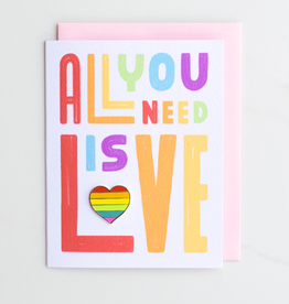 "Valley Cruise Press ""All You Need Is Love"" Greeting Card + Enamel Pin - Valley Cruise Press"