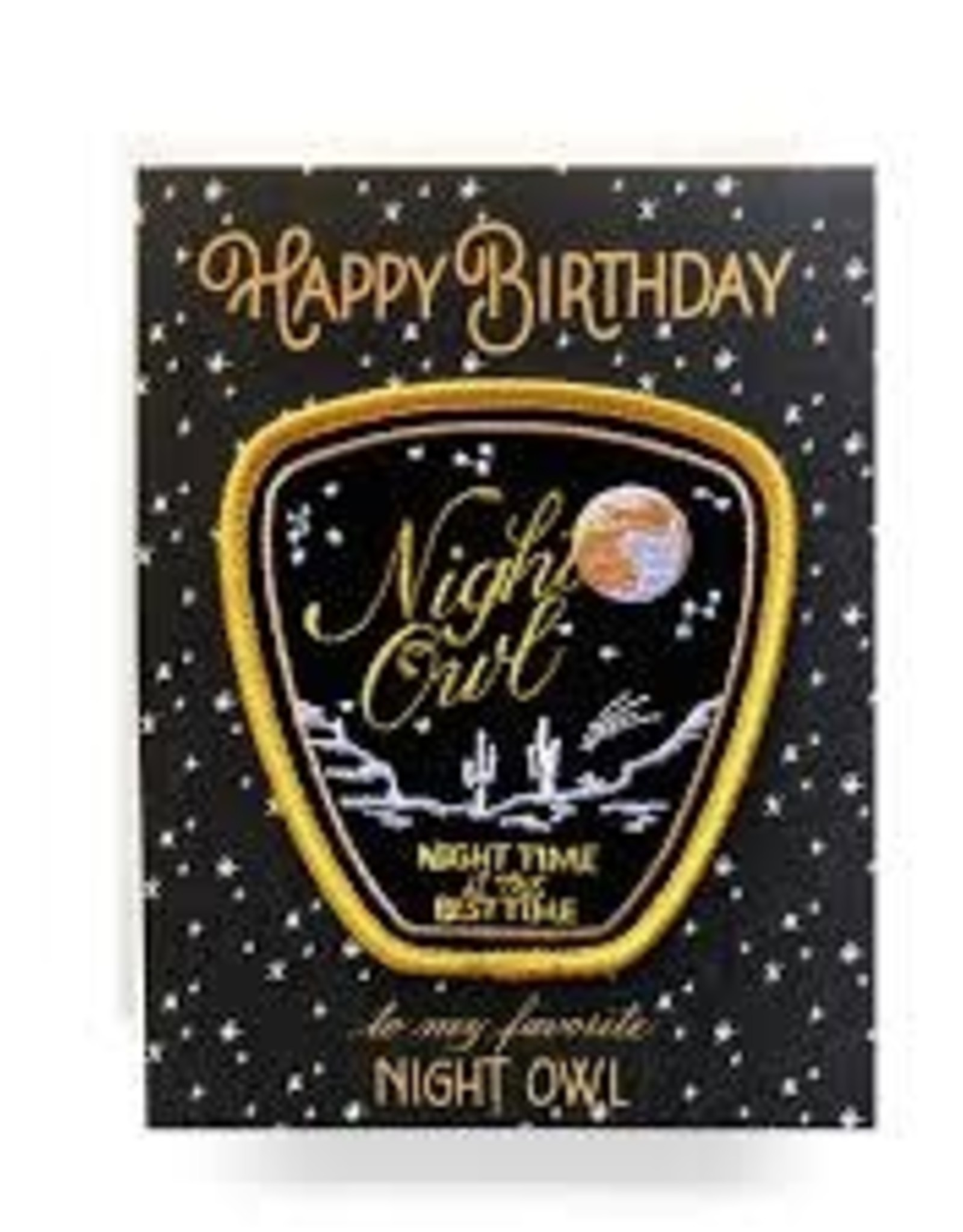 Night Owl Birthday Greeting Card with Patch - Antiquaria