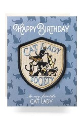 Cat Lady Society Birthday Greeting Card with Patch - Antiquaria