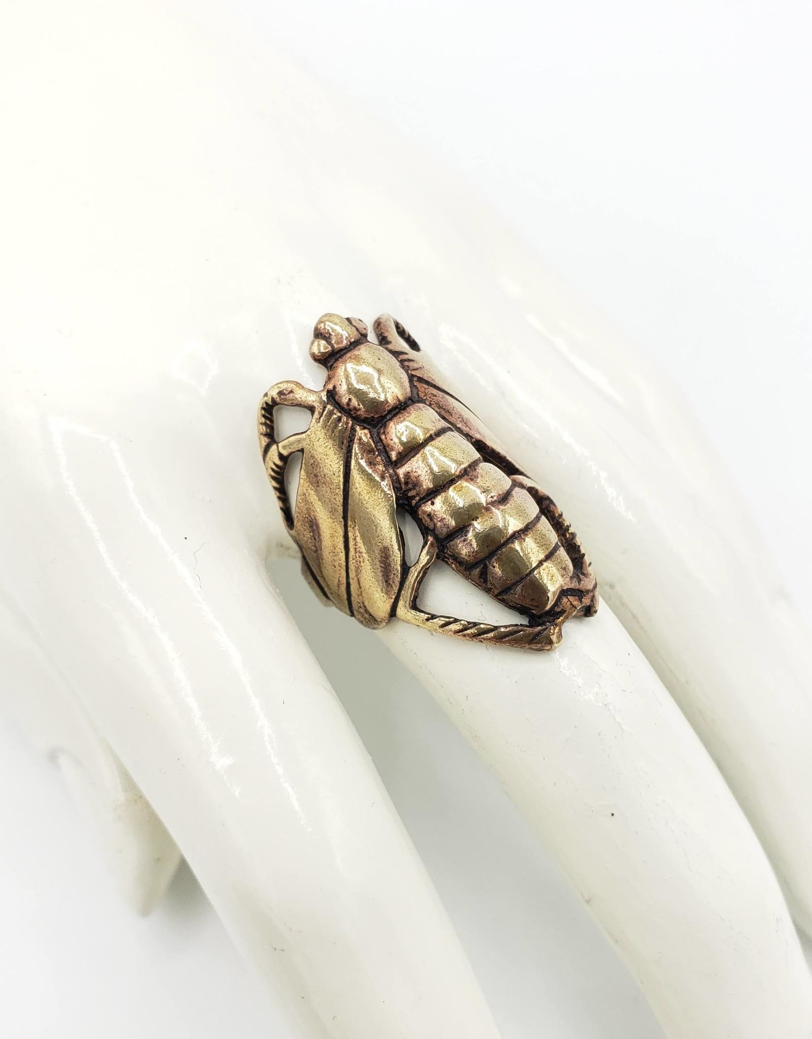 Tiger Mountain Insect Wrap Ring, Brass