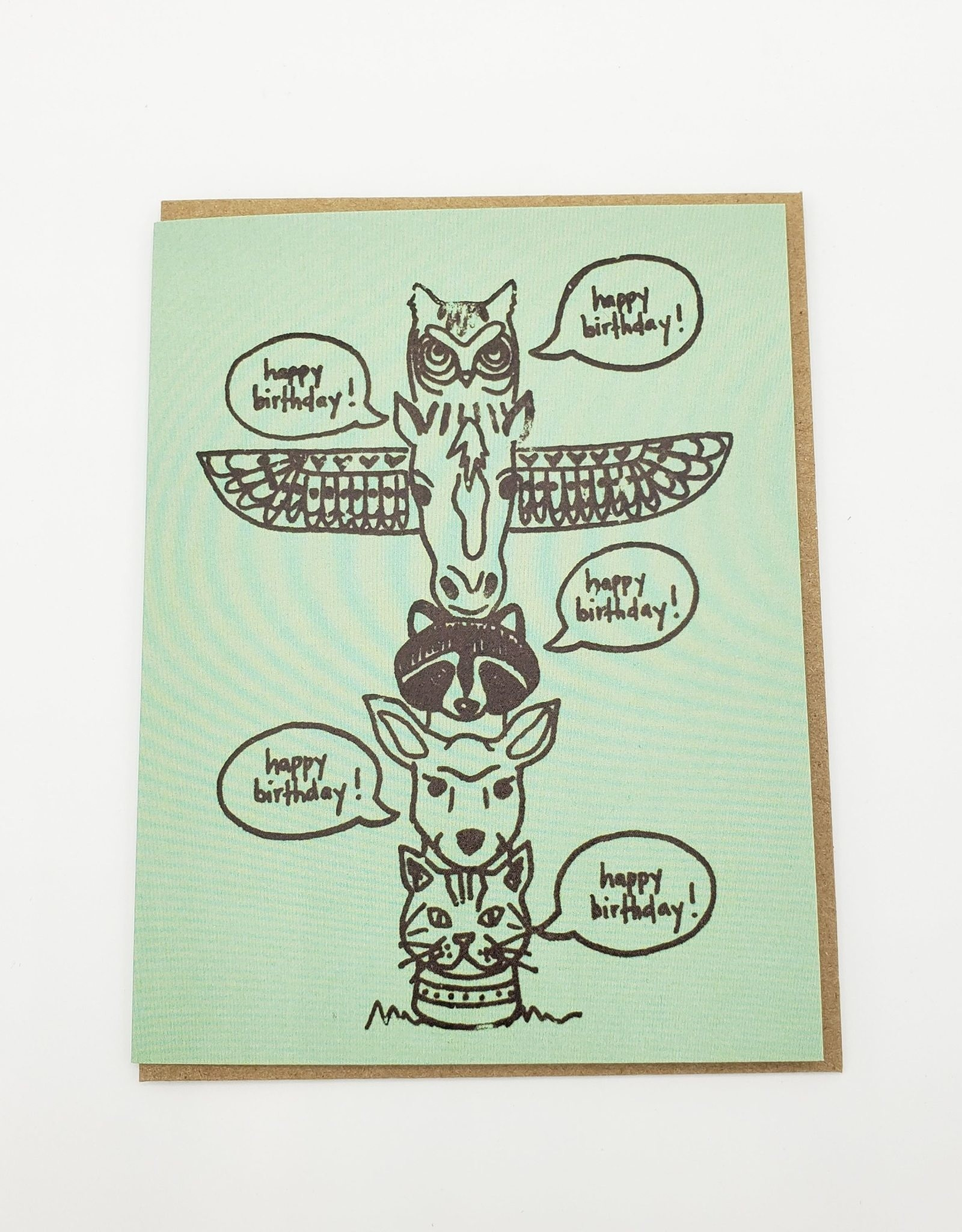 """Totem Pole"" Birthday Greeting Card - La Familia Green"