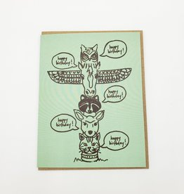 """Totem Pole"" Birthday Greeting Card - La Familia Green"