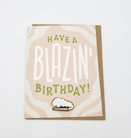 """Valley Cruise Press """"Have a Blazin' Birthday"""" Greeting Card + Enamel Pin - Valley Cruise Press"""