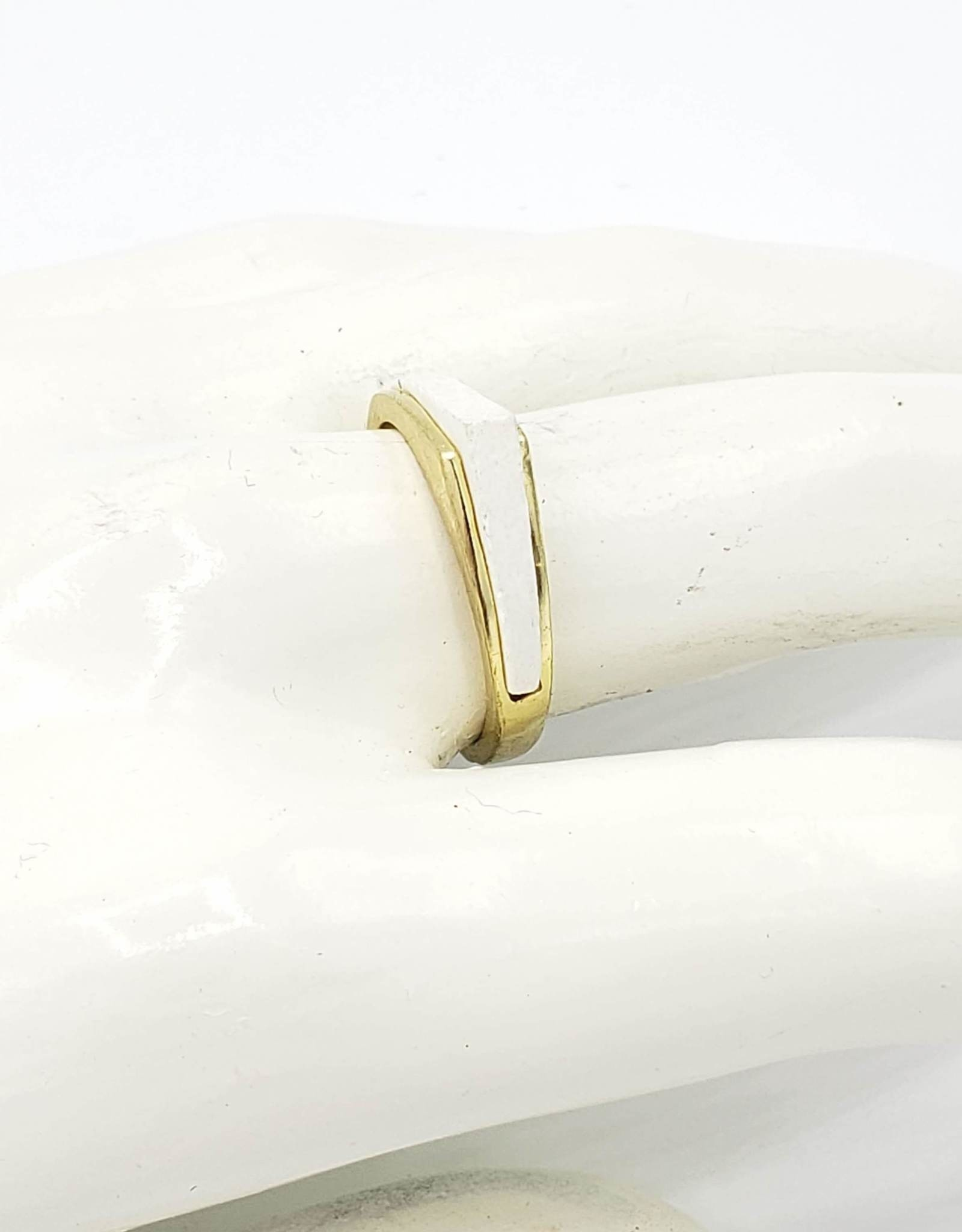 Mata Traders Apex Ring, White Inlay, plated brass band