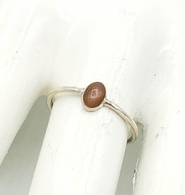 Tiger Mountain Oval Peach Moonstone Stacking Ring, Sterling Silver