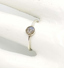 Tiger Mountain Round Labradorite Cabochon Stacking Ring, Sterling Silver