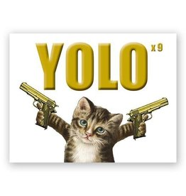 Mincing Mockingbird YOLO Cat Greeting Card - The Mincing Mockingbird