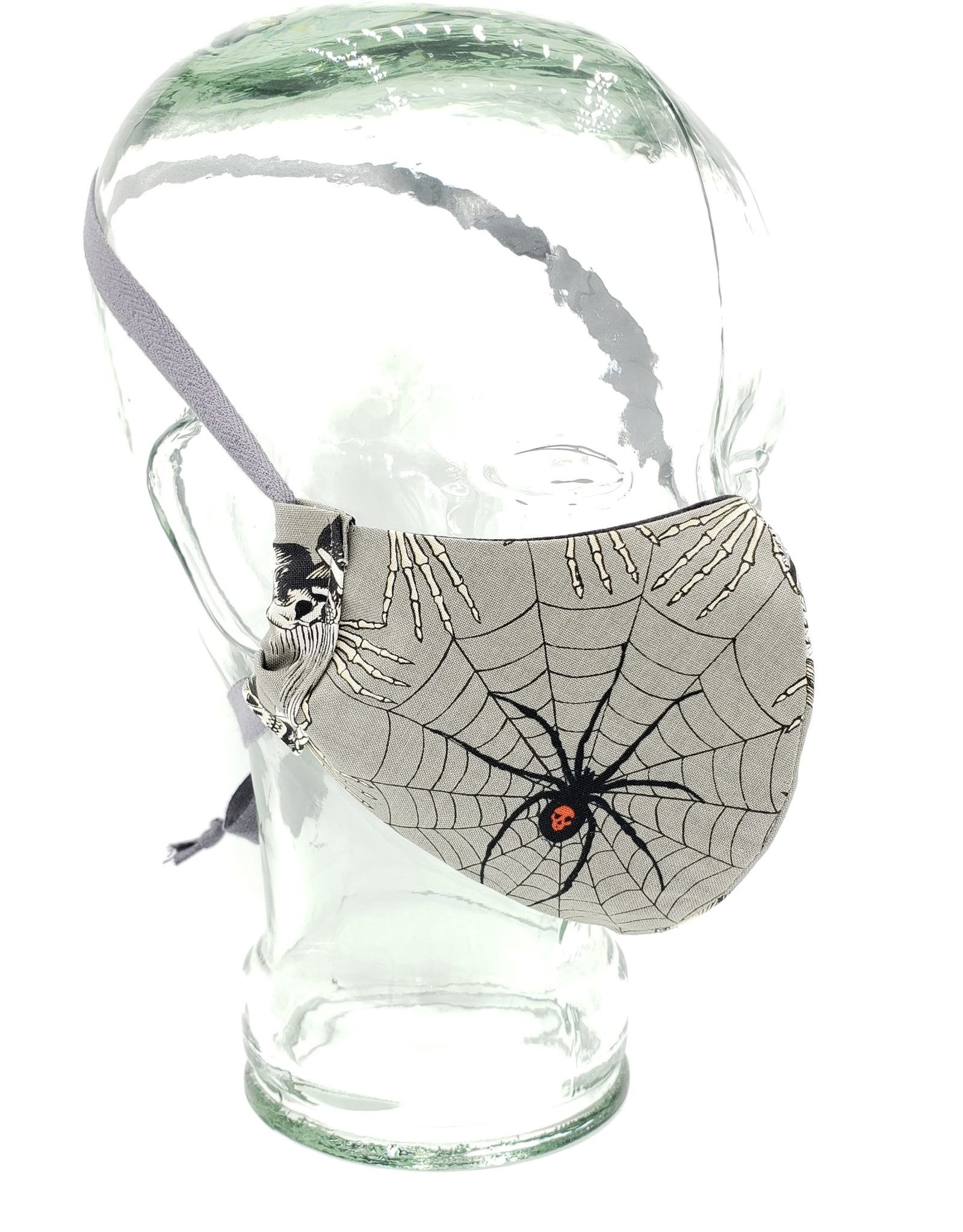 Redux Victorian Dress & Spider Spooky Mask - Handmade Fabric Face Mask