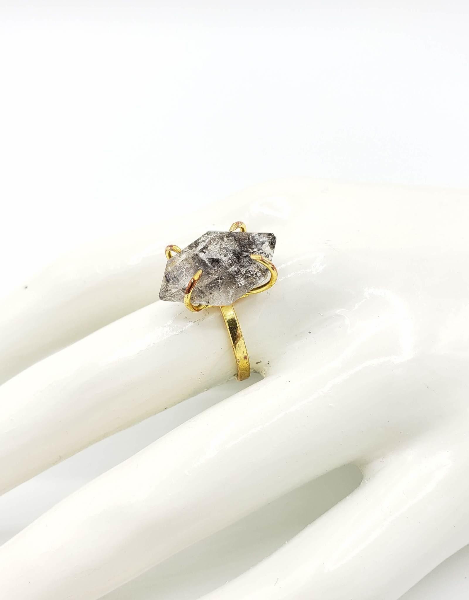 "Redux Herkimer ""Diamond"" Ring, Brass"