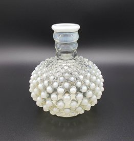 Opalescent Hobnail Glass Vase in White