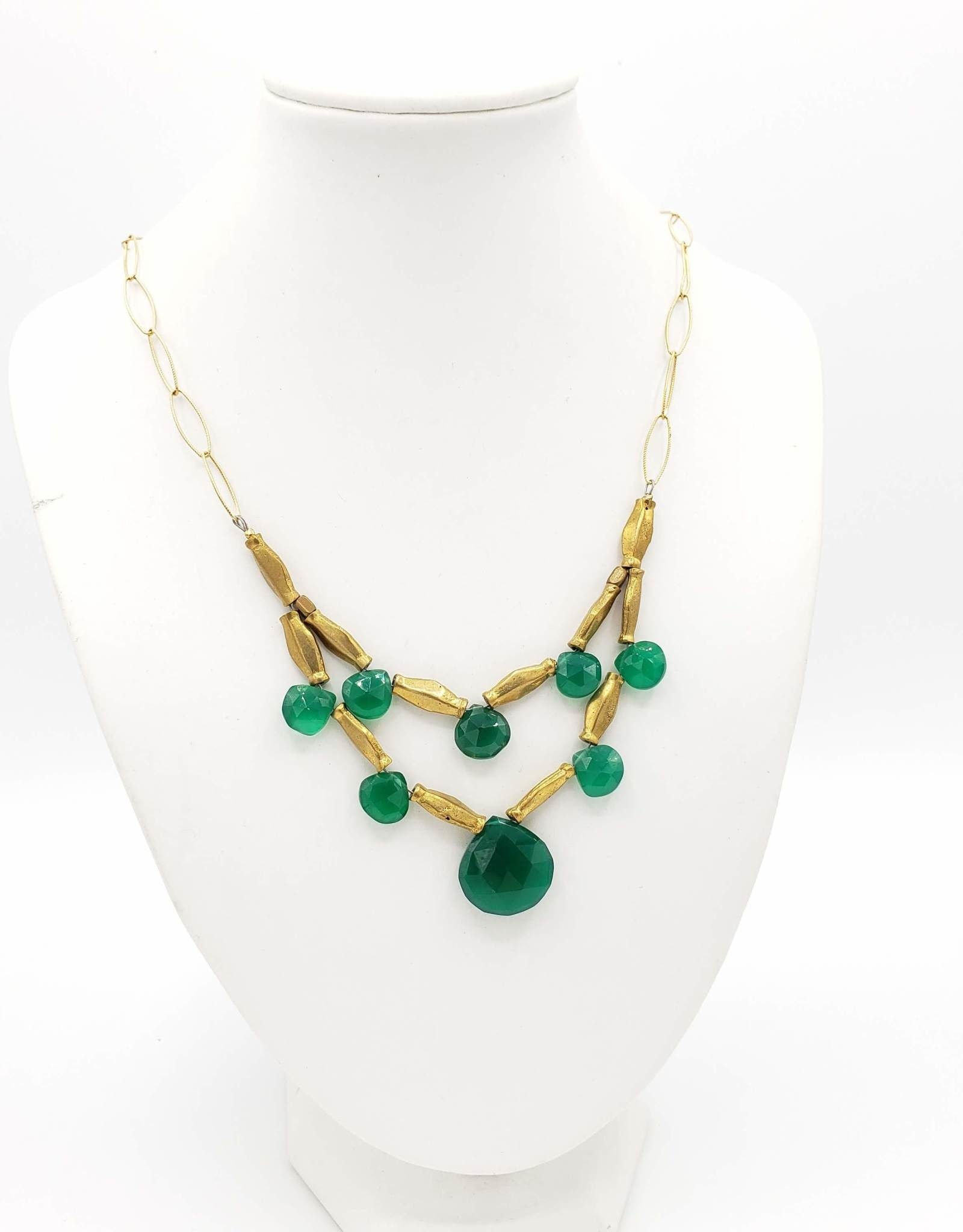 David Aubrey Green Jade 2-tiered Teardrop Necklace, large center stone