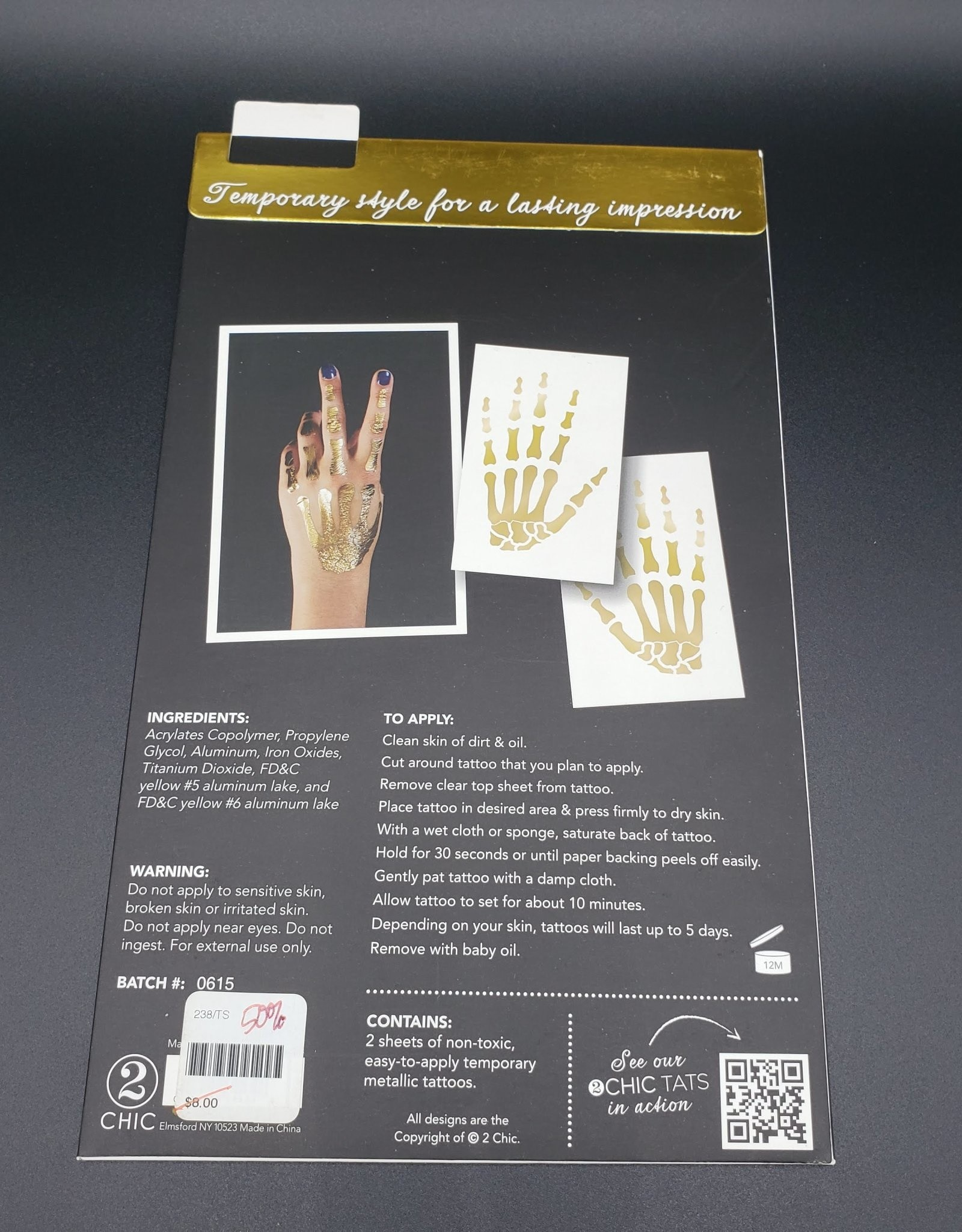 Skeleton Hand Temporary Tattoos