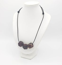 Redux Modern Geometric Necklace, 3 Maroon Wood Bead