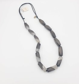 Sylca Designs Wood & Resin Gray Long Necklace w/Faceted Beads