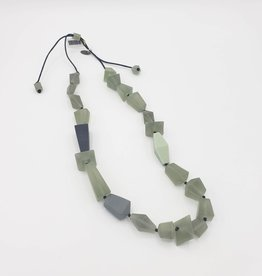 Sylca Designs Sage Lucite Necklace, Shaped Frosted Beads